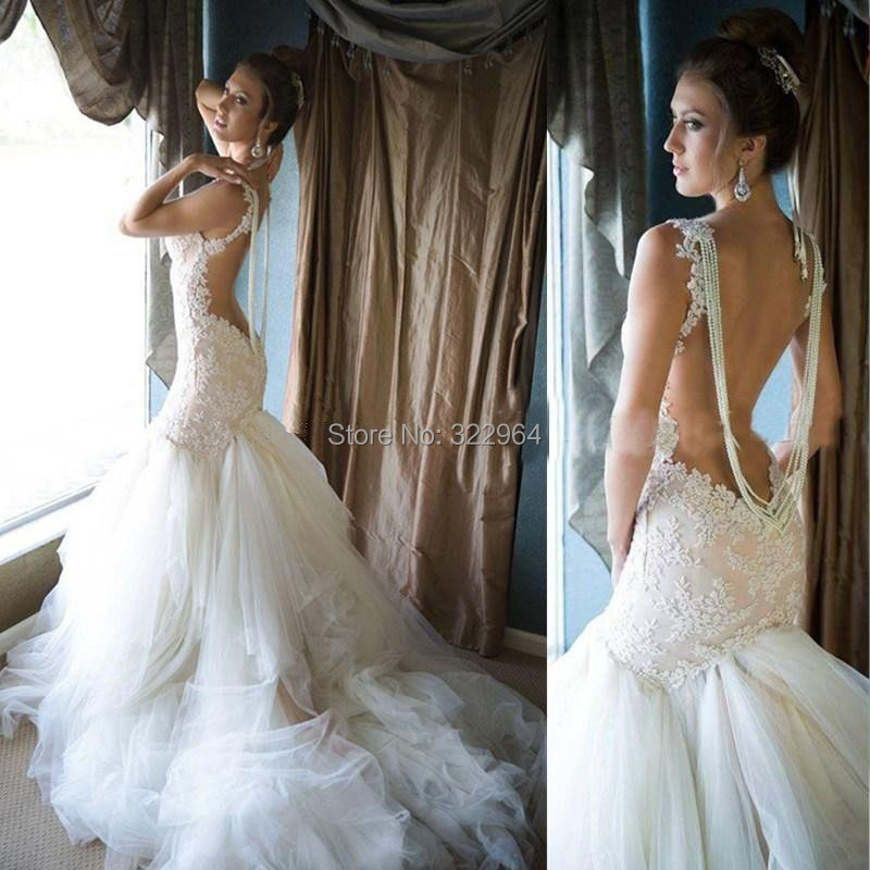 Pearl Open Back Wedding Dresses