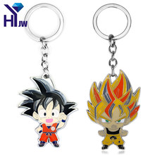 HEYu Nova Moda Anime Dragon Ball Son Goku Super Saiyan Enmal Metal Keychain Figura Presentes Chave Anel Chave Cadeia Cosplay(China)