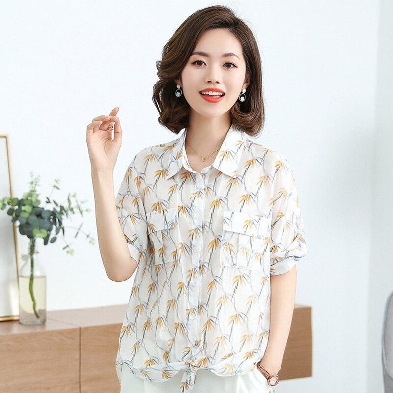 Été blouse pour les femmes 2019 femme chemise casual haute qualité dames blanc top floral blouse plus la taille tunique Trois Trimestre manches