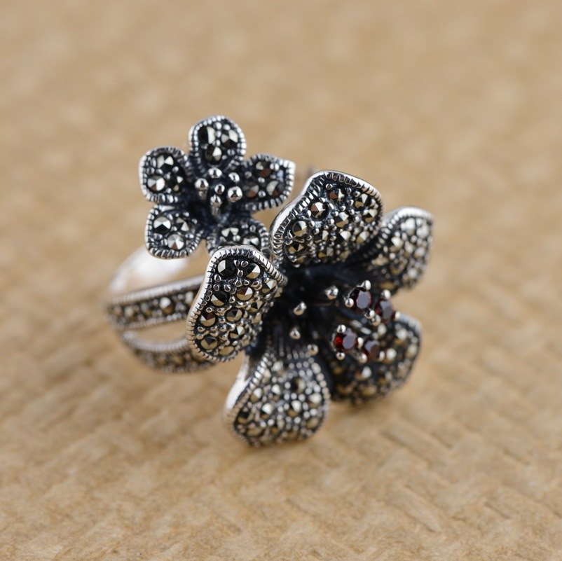 Thai silver ring marcasite flower ring for women sterling silver jewelry