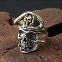 цена на 925 Silver Skeleton Ring Vintage 925 Sterling Silver Skull Head Ring Punk Jewelry Cocktail Man Ring