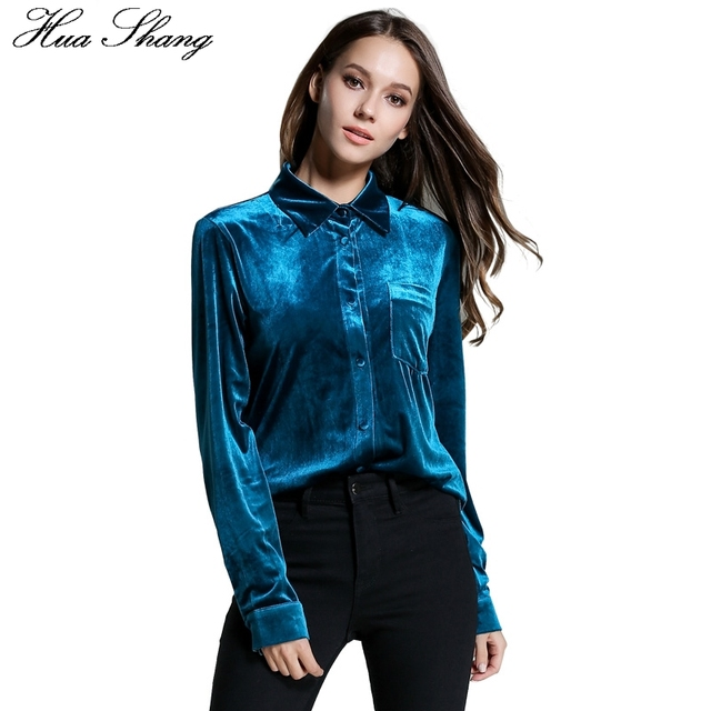 ecdc0ddb US $23.43  Wiosna eleganckie aksamitne koszule damskie z długim rękawem  Retro Vintage bluzka niebieski jednolity kolor kieszenie kobiety OL styl ...
