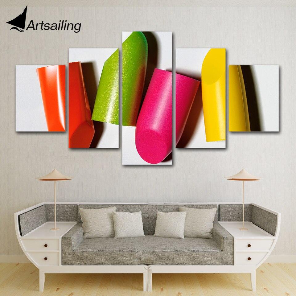 5 Panelen Snoep Lipstick Schoonheid Winkel Posters Schoonheidssalon Canvas Print Schilderij Op Canvas Wall Art Modulaire Foto Home Decor Hoge Kwaliteit En Goedkoop