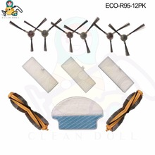 CLEAN DOLL 12 PACK  main brushes mop cloths side brush HEPA filter for Ecovacs Deebot DR95 KTA R95 R97 Vacuum Cleaner parts