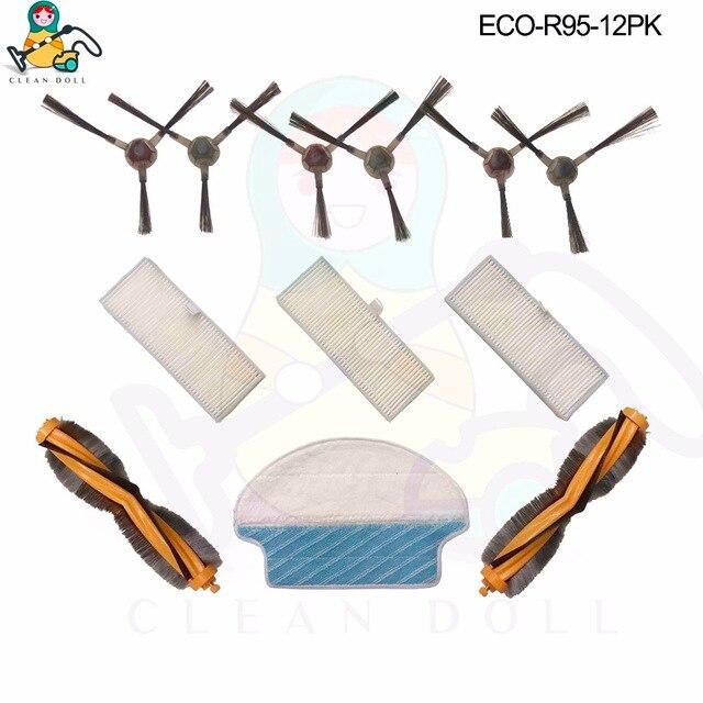 Poupée propre paquet de 12 brosses principales chiffons de vadrouille brosse latérale filtre HEPA pour Ecovacs Deebot DR95-KTA R95 R97 pièces daspirateur