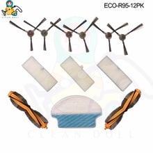SAUBER PUPPE 12 PACK wichtigsten pinsel mopp tücher seite pinsel HEPA filter für Ecovacs Deebot DR95 KTA R95 R97 Vakuum staubsauger teile