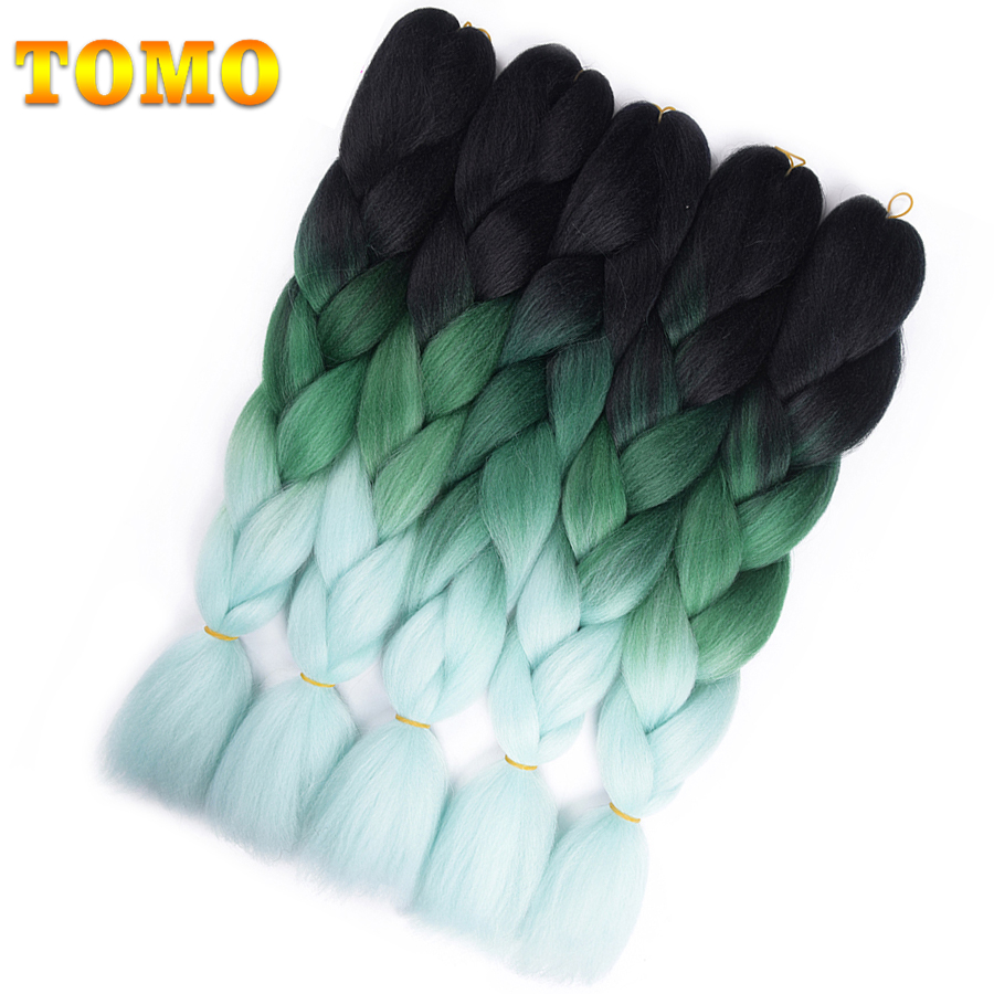 "TOMO Hair 24"" Ombre Synthetic three And four Tone Jumbo Braids Hair Black Purple Blue Big Crochet Braids Hair Extensions"