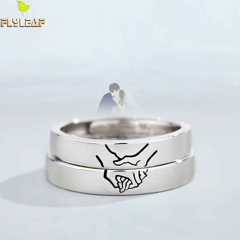Flyleaf 925 Sterling Silver Hold Your Hand Lovers Open Rings For Women Men Romantic Couple Jewelry Gift