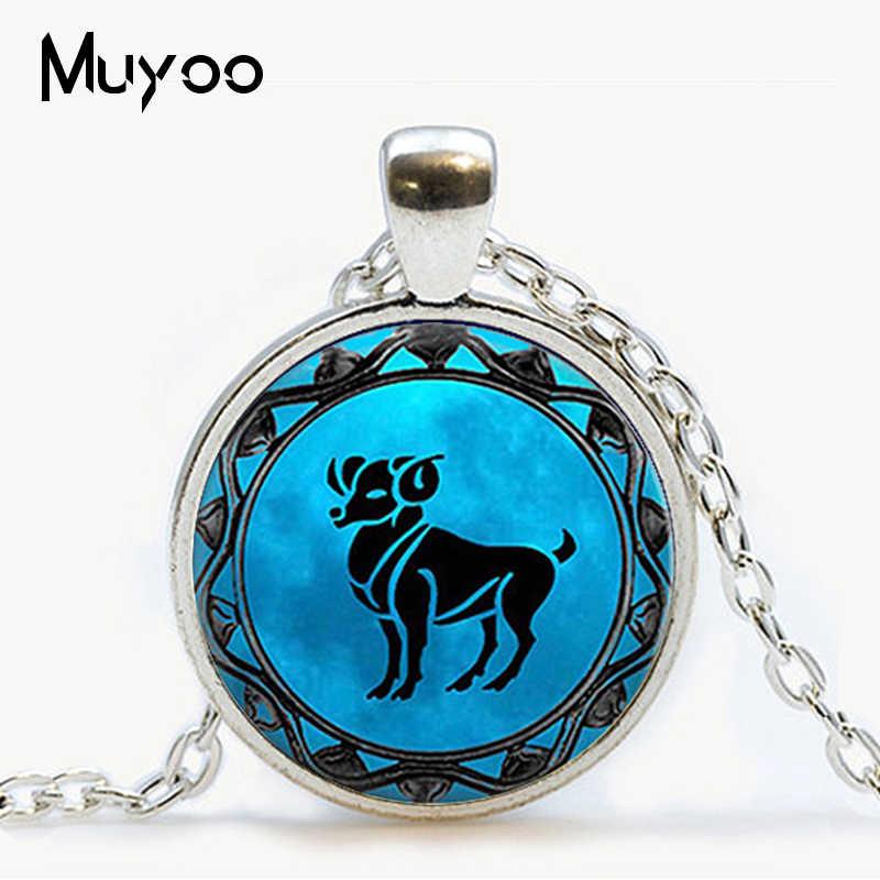 Cung Hoàng Đạo Sư Tử biểu tượng Mặt dây chuyền cung song ngư xanh dương Song Ngư cung hoàng đạo cổ Thiên Bình Chiêm Tinh Học Nhân Mã cung hoàng đạo trang sức Bò Cạp trang sức HZ1