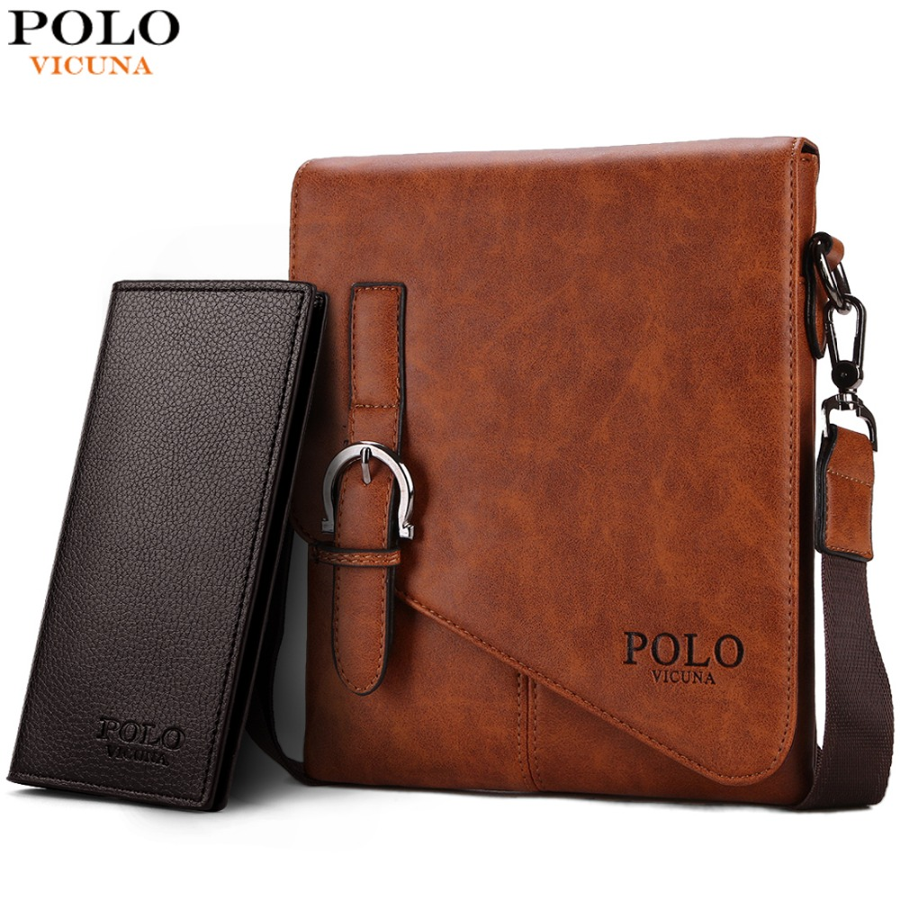 VICUNA POLO Unique Buckle Design Irregular Cover Open Mens Messenger Bag 2 Taglie Business Uomo Borsa a tracolla in pelle Borsa uomo caldo