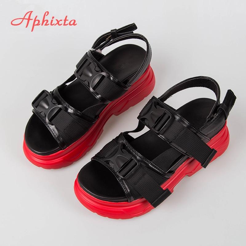 Aphixta 8cm Platform Sandals Women Wedge High Heels Shoes Women Buckle Leather Canvas Summer Zapatos Mujer Wedges Woman Sandal