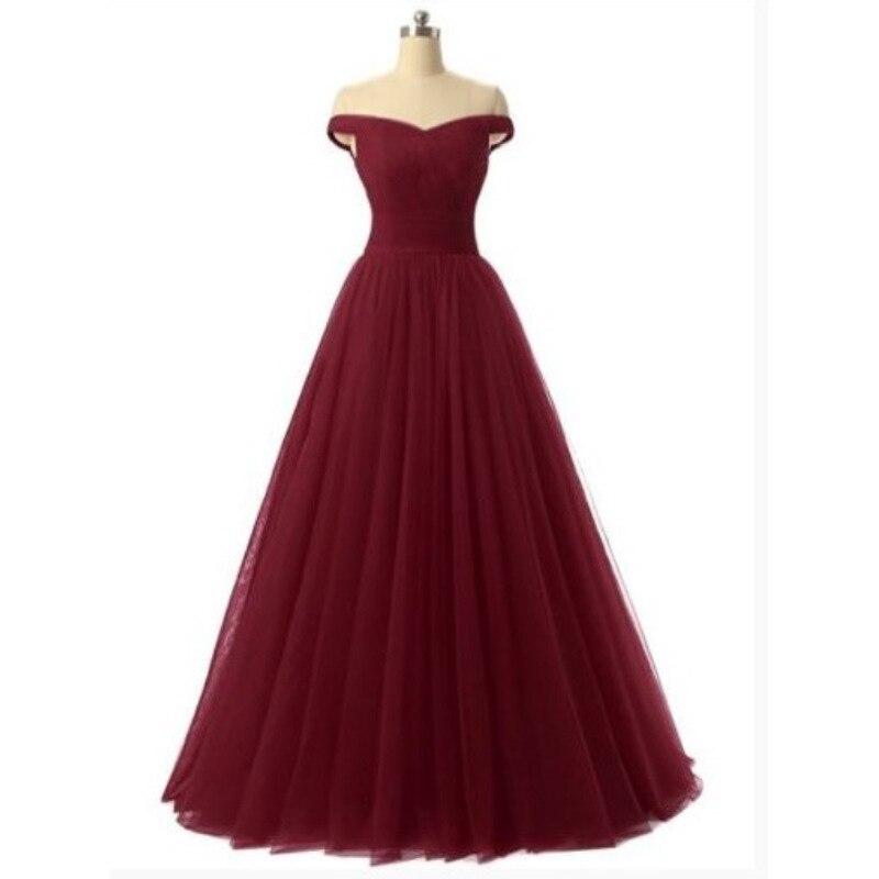 U-SWEAR 2019 Red   Prom     Dresses   Off-Shoulder A-line Sleeveless Lace Up Evening   Dresses   vestidos de fiesta largos elegantes de gala