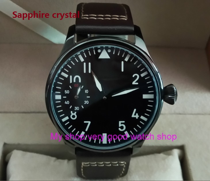 Sapphire crystal 44mm PARNIS black dial 17 jewels Asian 6497/3600 Mechanical Hand Wind movement men's watch PVD case PA30-P8 sapphire crystal 2017 new fashion 44mm parnis asian 6497 3600 mechanical hand wind movement men s watch 6a