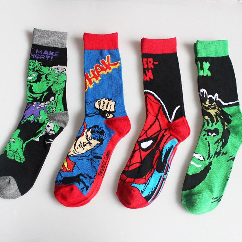 Marvel Comics Hero General   Socks   Cartoon Batman Superman The Hulk Spider Man Knee-High Pattern Antiskid Casual   Sock   Unisex