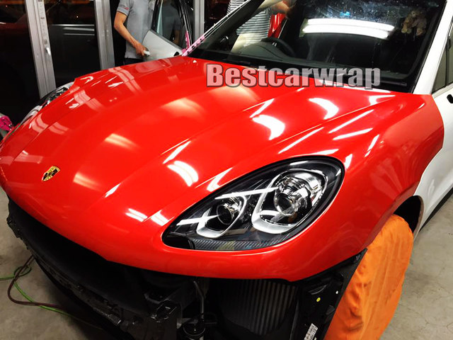 Ultra Gloss Red Car Vinyl Wrap With 3 Layers High Glossy Blue Shiny
