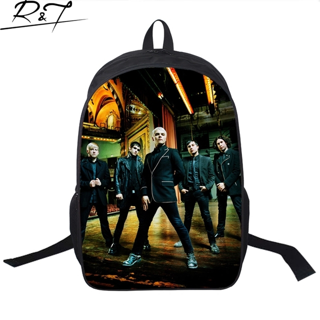 2016 Newest Unique Design My Chemical Romance Band print fashion Customized school bags with Zipper Polyester backpacks