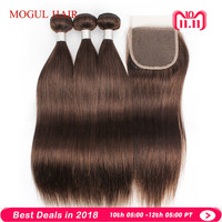 MOGUL HAIR Color 4 Chocolate Brown Straight Hair Bundles with Closure Peruvian Straight Remy Human Hair Extension 12 24 inch
