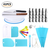 41Pcs/Set Mounting Pattern Nozzle Scissors Scraper Nozzle Pen Cream Bag Cleaning Brush Kitchen Cake Turntable Fondant Tools