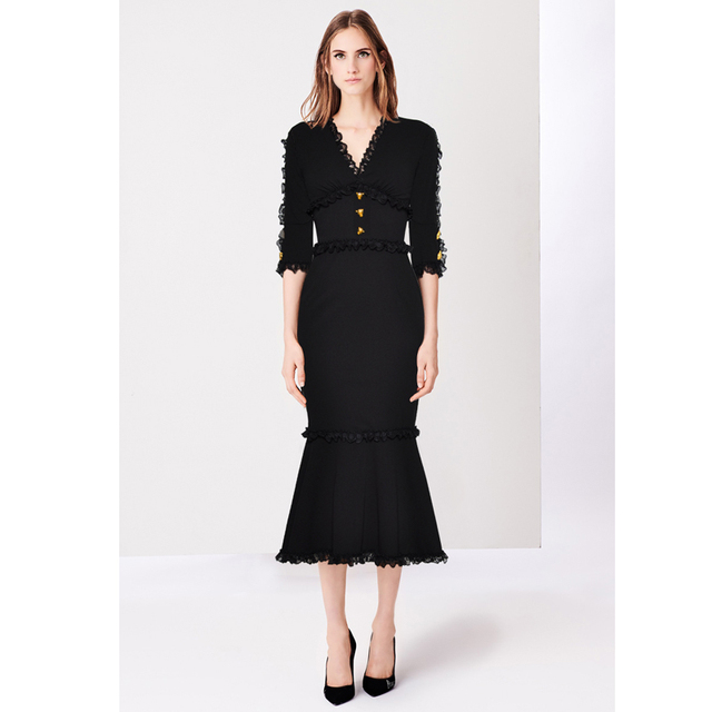 ad22e2796c85 Gold Panther Buttons Ruched Lace V Neck Half Sleeve Peplum Mermaid Party  Womens Dresses Midi 2019 Bodycon Black Elegant Dress