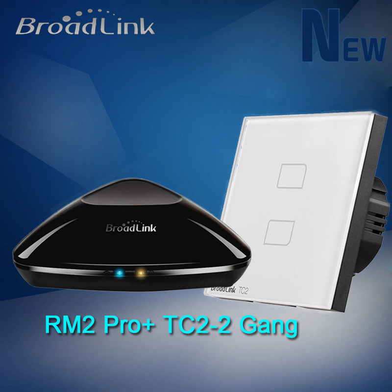 Broadlink RM2 Pro RM Intelligent Controller+ TC2 Wireless 2 Gang Wall Light Touch Panel Wifi Switch For Smart Home Eu Standard free shipping 2017 broadlink rm pro rm03 smart home automation wifi ir rf universal intelligent remote control switch for