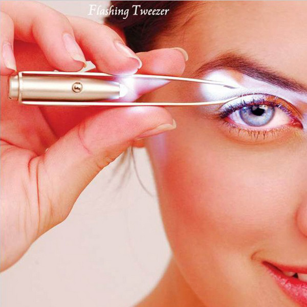 2018 LED Tweezer+3 Batteries Eyelash Eyebrow Hair Remover Stainless Steel Eyebrow Tweezers Tools