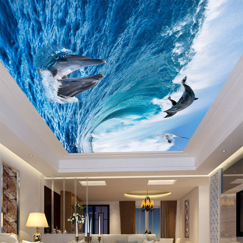 Custom Any Size Ceiling Mural Wallpaper 3D Stereo Dolphin Sea Wave Photo Wall Painting Living Room Theme Hotel Papel De Parede