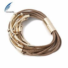 Multilayer Coffee Velvet Rope Wrap Bracelet Gold Color Magnet Bracelets For Women Wristband Bileklik Pulseira Feminina