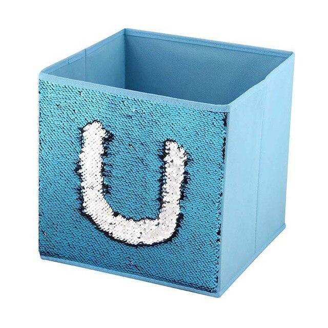 High Quality Cardboard Non-woven Folding Storage Box with Shinning Sequin Underwear Bra Socks Clothes Holder Organizer Baskets