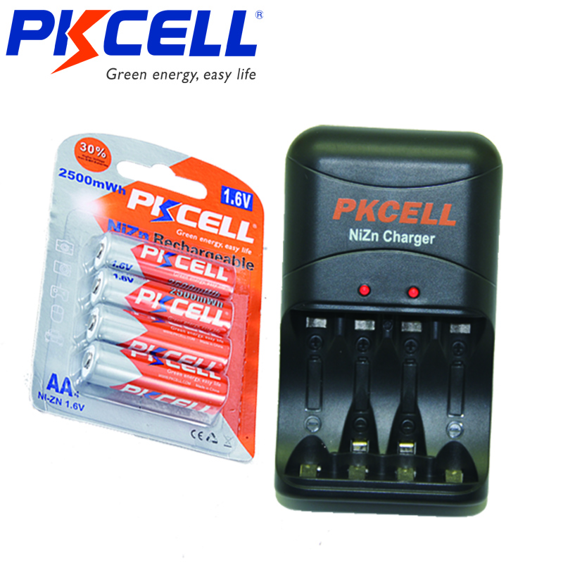 4Pcs PKCELL AA Batteries 1.6V 2250mWh To 2500mWh NI-ZN Aa Rechargeable Battery Packed With Ni-Zn Battery Charger EU/US PLug