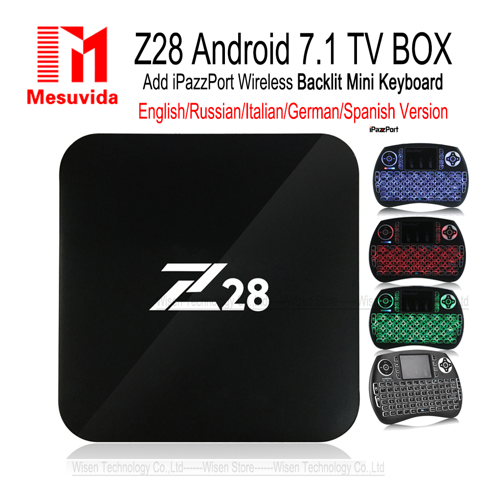 Mesuvida Z28 TV Box Android 7.1 Max 2G 16G RK3328 Quad Core 2.4GHz WiFi H.265 HDMI Media player PK X92 M8s Pro Smart Set Top Box