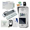 Envío Libre Teclado Numérico Inalámbrico Wifi 720 P Impermeable Video Portero para Android IOS 180 kg cerradura Magnética Eléctrica de Interior campana