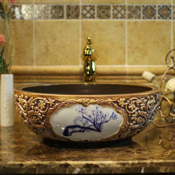 Europa styl Vintage ręcznie malowanie sztuki umywalki umywalki łazienkowe blat łazienka umywalki tanie i dobre opinie JINGYILE ROUND Zlewozmywaki blatowe Rozpylanie emalii Pojedynczy otwór Zlewy na szampon ceramic 40-42cm 14-16cm As show picture
