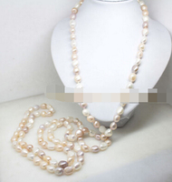 HOT 003529 natural white pink lilac large baroque pearl gem handmade necklace 62long