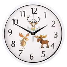Lovely Deer Quartz Time Wall Clock 12 Inch Bedroom Office Clocks Modern Design Quiet Watch Home Decoration Birthday Gifts