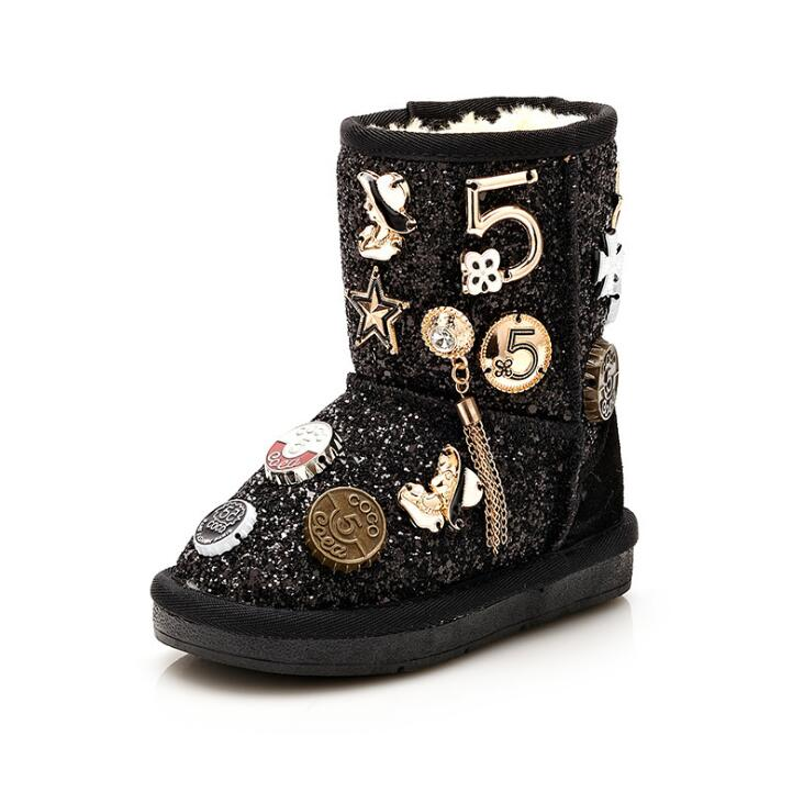 Image 5 - Size 26 37 Fashion Metal Decoration Children Winter Boots Thick Warm Fur Kids Snow Boots Girls Shiny Sequined Boots-in Boots from Mother & Kids