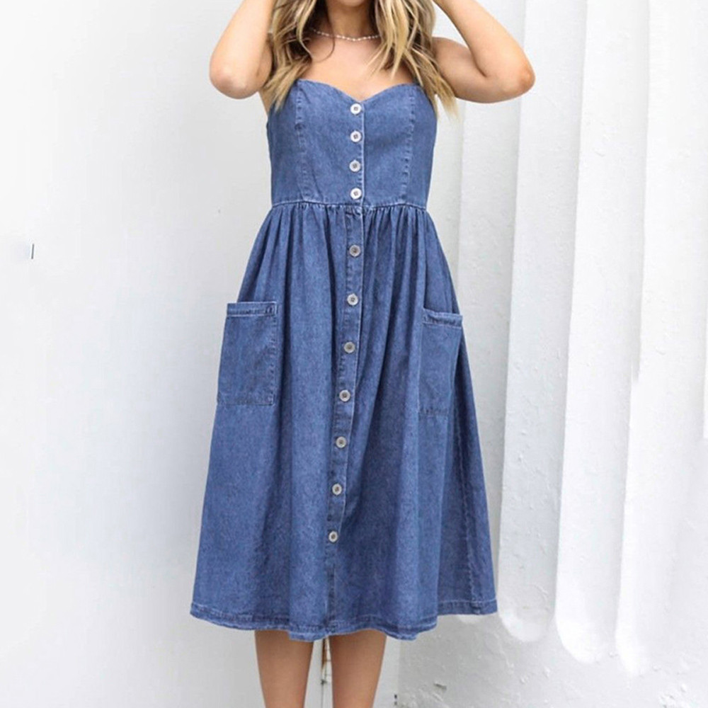 S-XL-Women-Holiday-Strappy-Button-with-Pockets-Denim-Dress-Summer-Beach-Midi-Swing-Dress-Sexy
