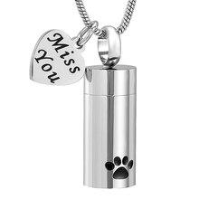Ювелирные изделия для собак, ювелирные изделия для кремации, кулон с пеплом, собачья лапа, печать, цилиндрическое ожерелье-сувенир для собак и в память о кошке, ювелирные изделия для пепла