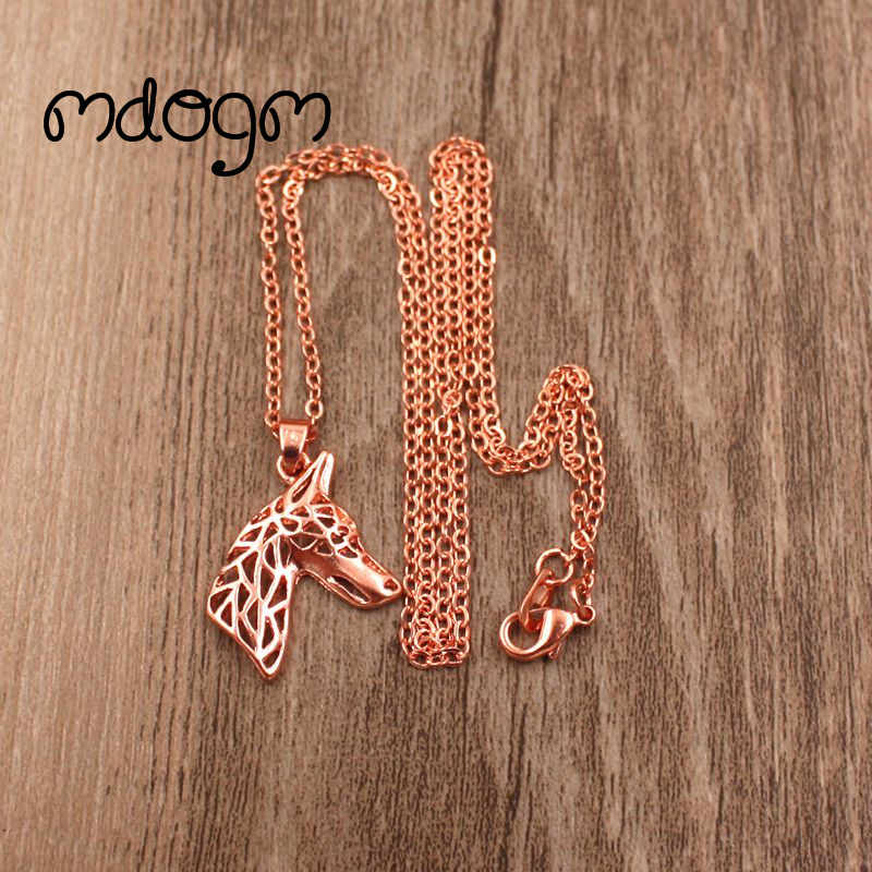 2018 Doberman Necklace Dog Animal Pendant Gold Silver Plated Jewelry For Women Male Female Girls Ladies Kids Boys N023