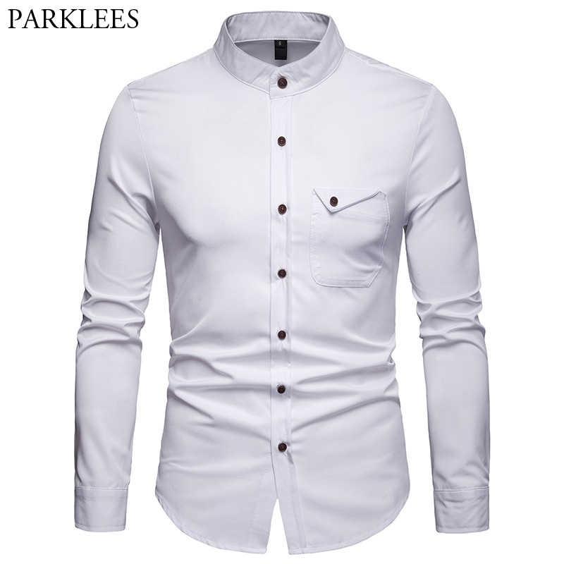 a628796d38e Белый Мандарин рубашка с воротником для мужчин 2019 весна новый тонкий  длинным рукавом Henley s бизнес