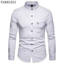 الأبيض اليوسفي طوق قميص الرجال 2019 ربيع جديد سليم كم طويل هينلي قميص رجالي الأعمال فستان كاجوال قميص شيميز أوم