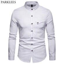 Beyaz Mandarin yaka gömlek erkekler 2019 bahar yeni ince uzun kollu Henley gömlek erkek iş rahat elbise gömlek Chemise Homme