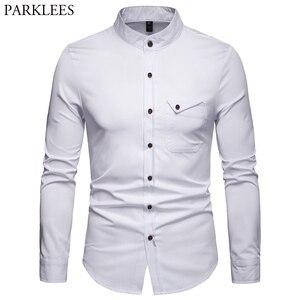 Image 1 - สีขาว Mandarin COLLAR เสื้อผู้ชาย 2019 ฤดูใบไม้ผลิใหม่ Slim ยาว Henley เสื้อ Mens ธุรกิจชุดลำลองเสื้อ Homme