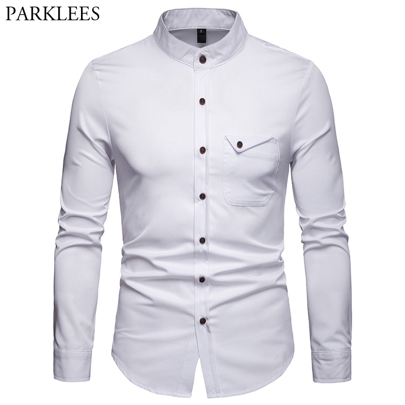 White Mandarin Collar Shirt Men 2019 Spring New Slim Long Sleeve Henley Shirt Mens Business Casual Dress Shirts Chemise Homme
