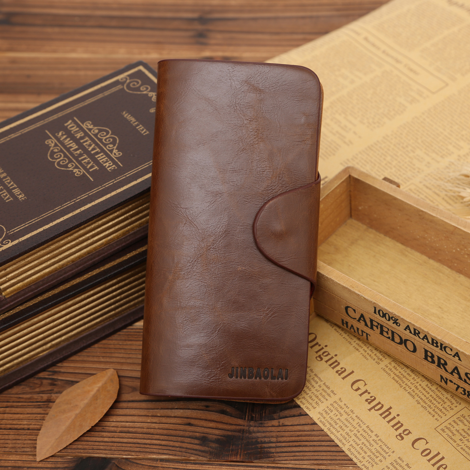 2017 Top Quality Vintage Brown Men Long Leather Wallets Retro Male Clutch Purse Wallet Man Walet Wholesale Price