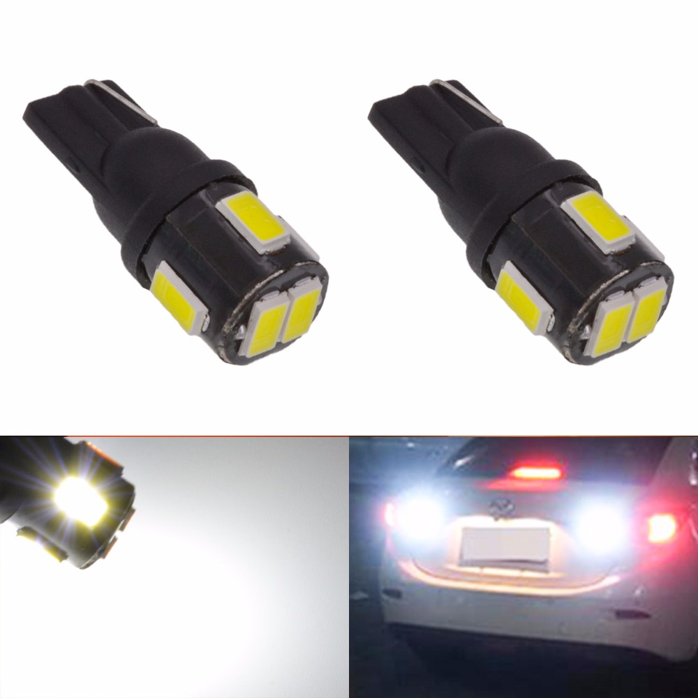 2pcs T10 W5W Led Bulbs For Cars Clearance Width Side Marker Lights Car Light Wedge Lamp Bulbs Super Bright DC 12V 5630 6 SMD deechooll 2pcs wedge light for mazda 2 3 5 6 mx5 rx8 cx7 626 gf gg ge gw canbus t10 57smd 6w led clearance xenon lighting bulbs