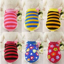FD82 Warm Striped Dog Sweater Coat Clothes Soft Puppy Dog Cat Fleece Hoodie Clothing for Small dog winter Pajamas drop shipping