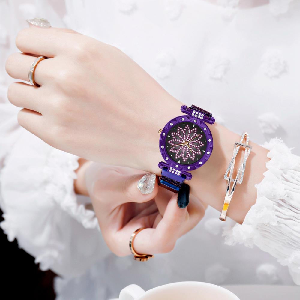 Women Magnet Mesh Watch Purple Lucky Flower Watch Luxury Diamond Ladies Dress Crystal Quartz Clock Waterproof Female Wristwatch in Women 39 s Watches from Watches