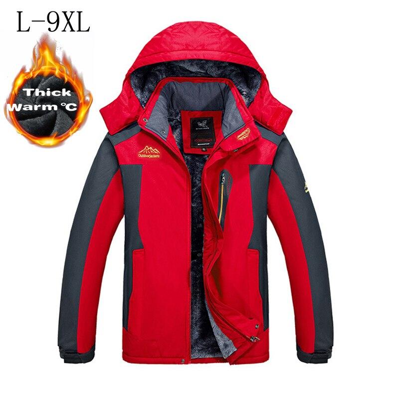 -30 C FIT Plus grueso terciopelo abajo y Parka abrigo 6XL 7XL 8XL 2018 chaqueta de invierno hombres impermeable a prueba de viento chaquetas hombre