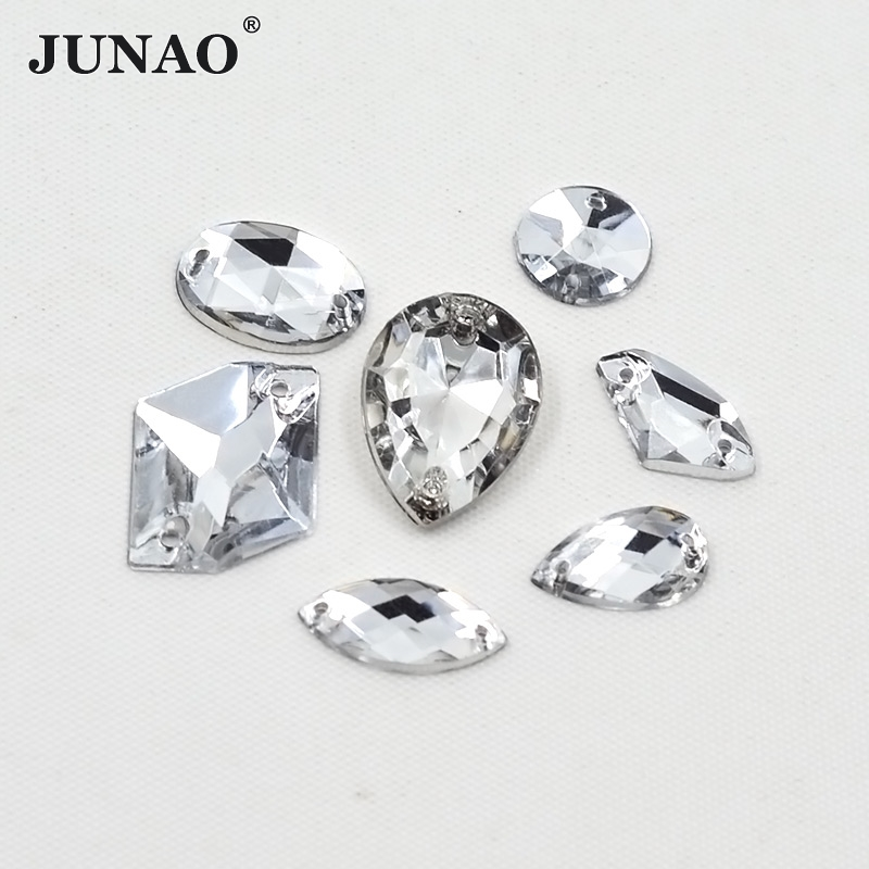 JUNAO Official Store Mix Size Mix Shape Sewing Clear Crystal Rhinestone Sew On Acrylic Flatback Strass Fancy Crystals Stones For Wedding Dress Crafts