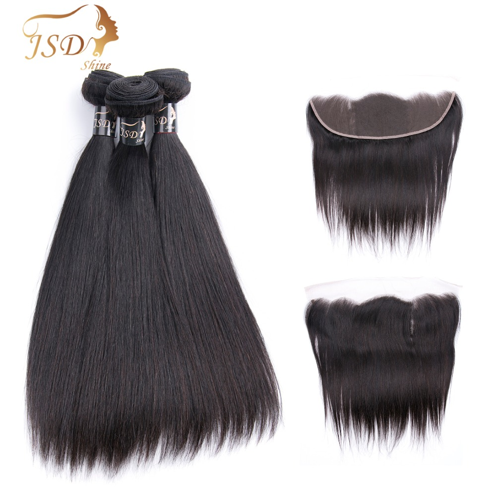 Adroit Jsdshine Brazilian Straight Weave Bundles With Frontal Remy Human Hair Bundles With Lace Frontal Closure Natural Black No Tangle Hair Extensions & Wigs 3/4 Bundles With Closure